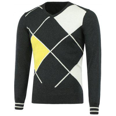 V Neck Geometric Pattern Sweater