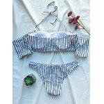 Conjunto de Biquíni de Striped Off The Shoulder - BRANCO