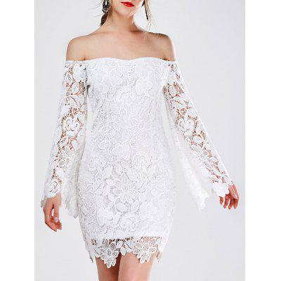 Mini Off The Shoulder Lace Bodycon Dress With Long Sleeve