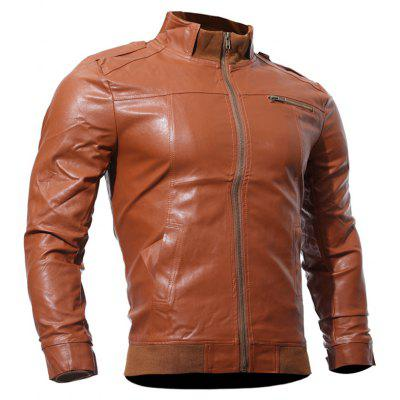 Zip Up Panel Faux Leather Biker Jacket