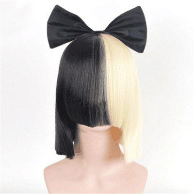 Medium Over Full Bang Double Color Straight Cosplay Synthetic Wig