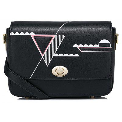 Geometric Print Flapped Crossbody Bag