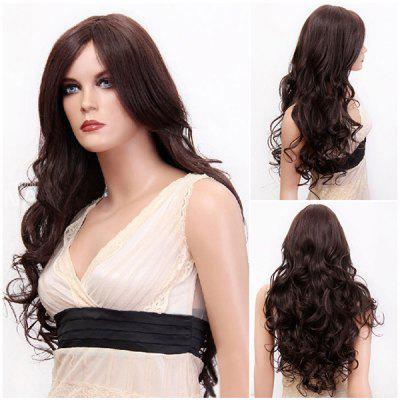 Buy BROWN Long Side Parting Fluffy Layered Wavy Synthetic Wig for $16.59 in GearBest store