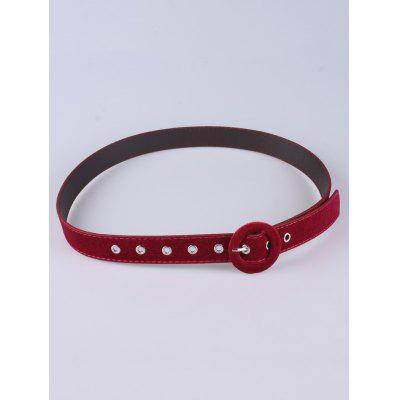 Pin Buckle Faux Leather Velvet Belt