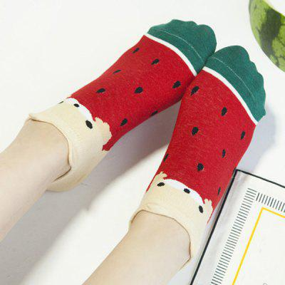 2 Pairs of Watermelon Cotton Blend Ankle Socks