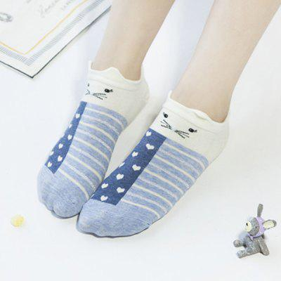 2 Pairs of Cartoon Rabbit Cotton Blend Ankle Socks