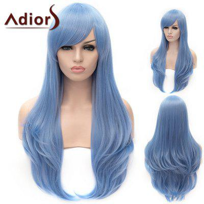 Adiors Long Oblique Bang Layered Slightly Curled Cosplay Synthetic Wig