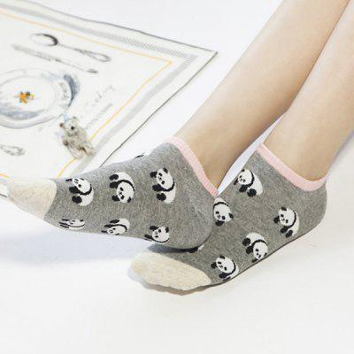 2 Pairs of Cartoon Panda Cotton Blend Ankle Socks