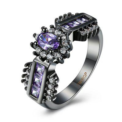 Buy PURPLE 6 Artificial Amethyst Oval Ring for $5.67 in GearBest store
