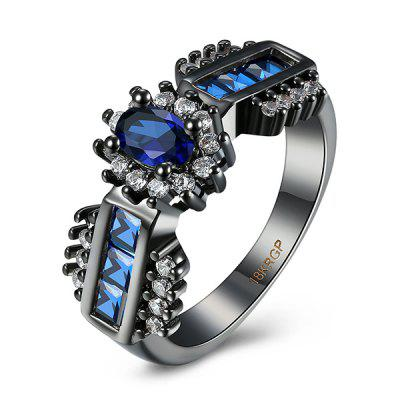 Buy BLUE 9 Artificial Sapphire Oval Ring for $5.67 in GearBest store