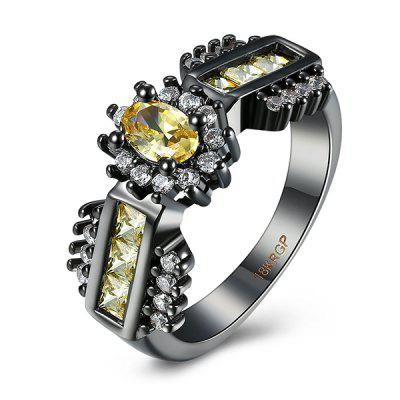 Buy YELLOW 9 Artificial Topaz Oval Ring for $5.67 in GearBest store