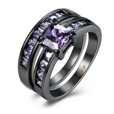 Buy PURPLE 7 Artificial Amethyst Circle Couple Finger Rings for $6.37 in GearBest store