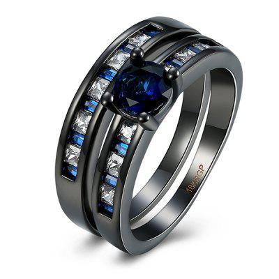 Buy BLUE 8 Artificial Sapphire Circle Couple Finger Rings for $6.70 in GearBest store