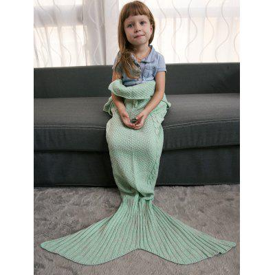 Buy Keep Warm Crochet Knitting Mermaid Tail Style Blanket For Kids MINT GREEN for $15.51 in GearBest store