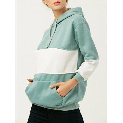 Color Block Hooded Drawstring Hoodie