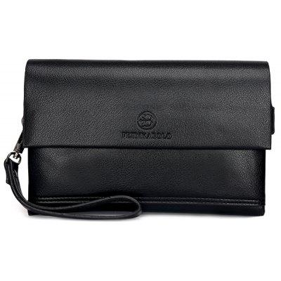 Faux Leather Flapped Clutch Bag