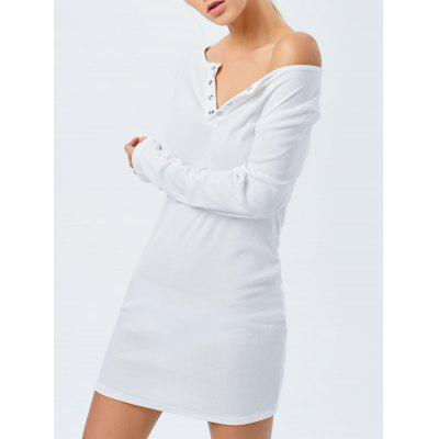 V Neck Mini Long Sleeve Bodycon Dress