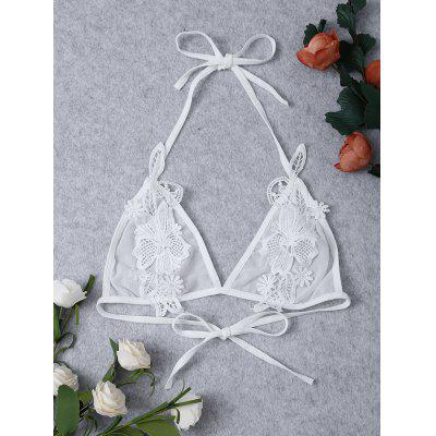 Crochet Floral Transparent Applique Sheer Mesh Bra