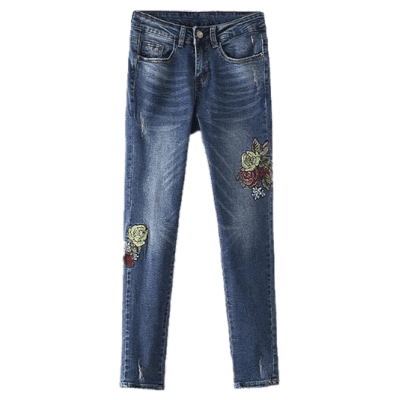 Frayed Floral Embroidered Jeans
