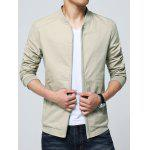 Rib Insert Pocket Zip Up Jacket - KHAKI