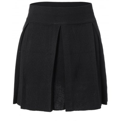 Elastic Waist Mini Knit Skirt