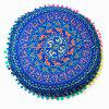 Sofa Paisley Tribal Totem Printed Pompon Round Floor Cushion Pillow Case - BLUE