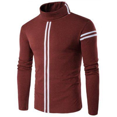 Buy OXIDE RED Roll Neck Varsity Stripe Long Sleeve T-Shirt for $15.95 in GearBest store