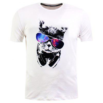Sunglasses Cat Print Short Sleeve T-Shirt