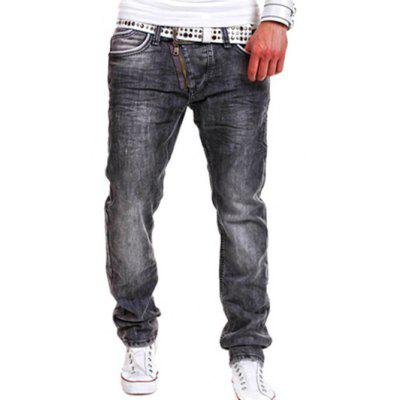 Buy GRAY 34 Faded Design Zip Fly Straight Leg Jeans for $31.64 in GearBest store