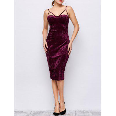 Strappy Bodycon Velvet Slip Dress