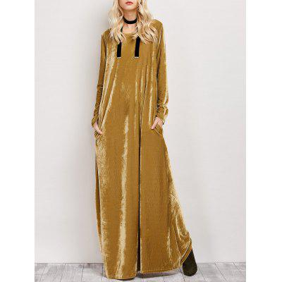 Floor Length Velvet Long Sleeve Casual Dress