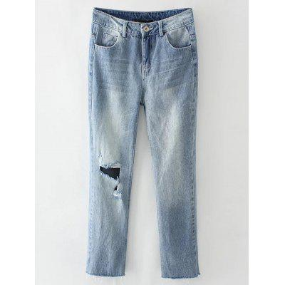 Buy LIGHT BLUE M Light Wash Destroyed Jeans for $29.50 in GearBest store