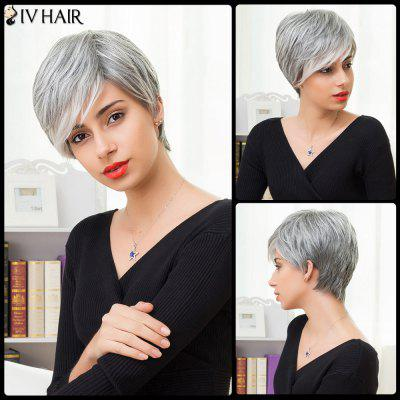 Buy COLORMIX Siv Hair Short Layered Side Bang Straight Human Hair Wig for $50.15 in GearBest store