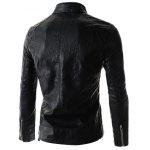 Stand Collar PU-Leather Belt Embellished Zipper Long Sleeve Jacket For Men deal