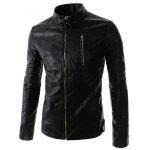 cheap Stand Collar PU-Leather Belt Embellished Zipper Long Sleeve Jacket For Men