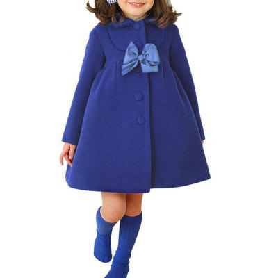 Buttoned Bowknot Peter Pan Collar Woolen Coat