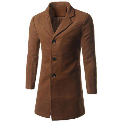 Notch Lapel Back Vent Woolen Coat