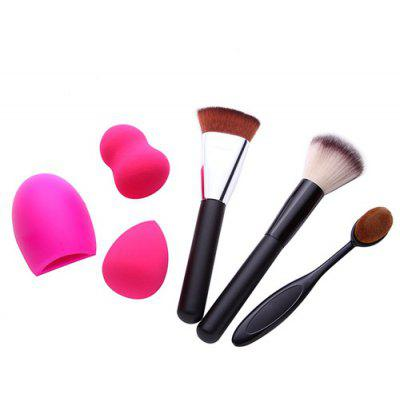 3 Pcs Makeup Brushes + Makeup Sponges + Brush Egg