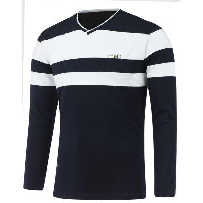 Long Sleeve V Neck Striped T Shirts