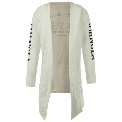 Longline Graphic Open Front Long White Hoodie