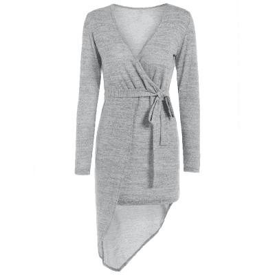 V Neck Long Sleeve Crossover Knit Dress