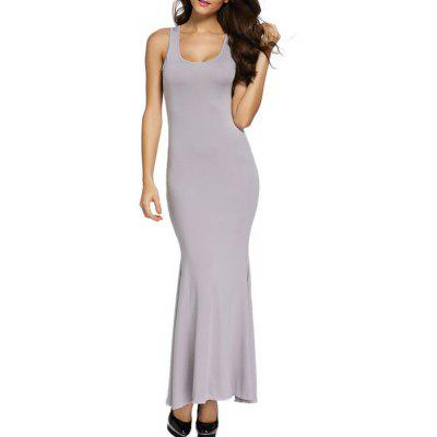 U Neck Cut Out Long Mermaid Dress