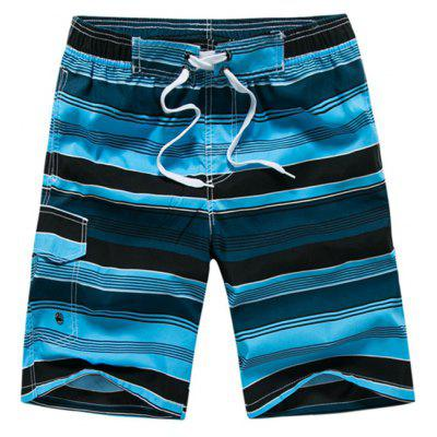 Color Block Striped Panel Print Board Shorts