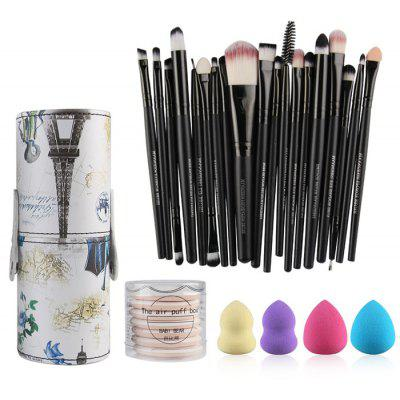 Buy BLACK 20 Pcs Makeup Brushes Kit + Makeup Sponges + BB Cream Air Puffs for $20.98 in GearBest store