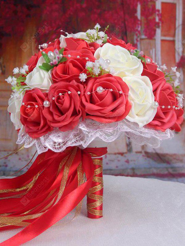 Faux Pearl Chain Artificial Rose Bridal Wedding Bouquets