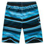 Buy Color Block Striped Panel Print Board Shorts L BLUE
