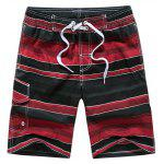 Color Block Striped Panel Print Board Shorts - RED