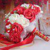 Faux Pearl Chain Artificial Rose Bridal Wedding Bouquets - RED