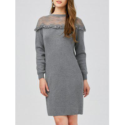 Lace Panel Ruffle Knit Dress