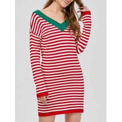 V Neck Striped Jumper Dress